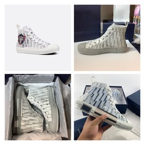 2021designer luxury sports shoes high quality leather oblique men canvas shoes 19 lace up platform black and white blue SS women shoes