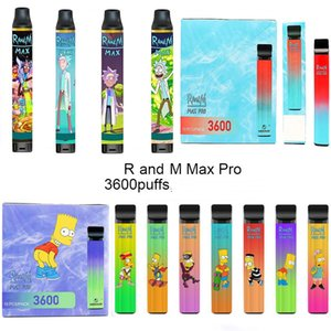 원래 Randm Max Pro 일회용 포드 장치 3600 퍼프 만화 인쇄 충전식 1100mAh vape 펜 10ml 증기 막대기
