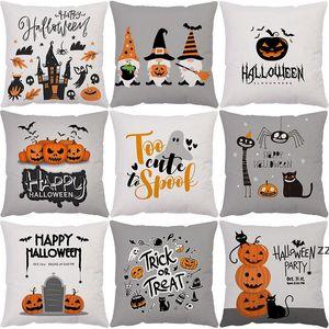 Halloween Cushion Covers Pumpkin Print Pillowcase Home Sofa Rural Pillow Case Xmas Pillows Cover Party Supplies Decor HWE9576