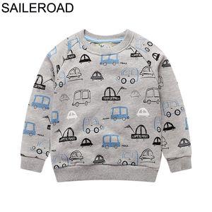 SAILEROAD 4Years Little Boys Sweatshirts 2020 Autumn Cartoon Car Excavator Kids Clothes Cotton Children's Clothing Boys Garment J0225