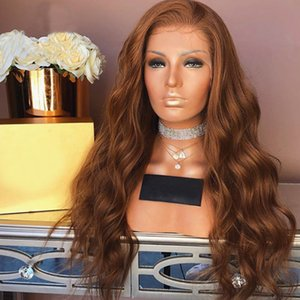 Light Brown Human Hair Wigs Wavy Lace Front Wig Virgin Brazilian Body Wave Glueless Full Lace Wig with Baby Hair Color #8