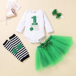 0-24m Newborn Infant Baby Girls St.patrick's Day Romper Tutu Skirt Outfits Cure Kids Designer Clothes Vêtement Fille