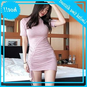 South Korean summer new product Barbie in 2019 sweet light pink pleated drawstring slim fit buttock T-shirt women's dress