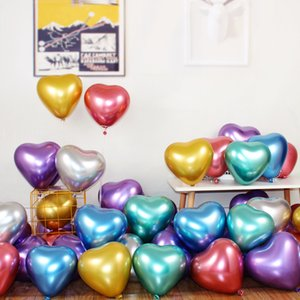 50pcs Metallic Latex Balloons Heart Shape Metal Chrome Magic Tying Twisting Balloon Wedding Birthday Decoration Supplies Baloon
