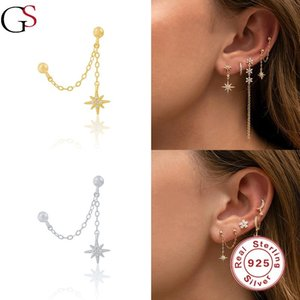 GS Single Chain Star Pendant Stud Earrings For Women 925 Sterling Silver Double Wear Piercing Fashion Pendientes Fine Jewelry