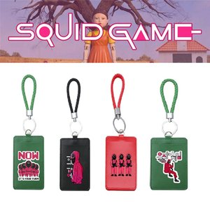 Squid Game Wooden Man Girl Cosplay PU ID Bus Bank Card Holder Keychain Case Cover Pendant Toy Keyring Prop