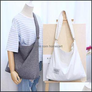 Shop Bags, Lage & Aessoriesshop Bags Preppy Style Women Canvas Satchel Crossbody Tote Large Reusable Girls Drop Delivery 2021 Ekrus
