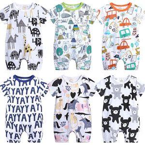 Jumpsuit summer Baby bodysuit romper harem rompers Soft breathable cartoon short sleeve onsies 0-24 months Baby breathable H23DFLR