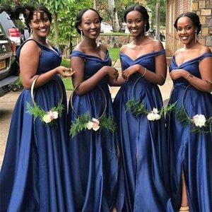 Nedime Elbisesi Donanması Mavi Kapalı Omuz Düğün Parti Elbiseler Pleat Uzun Ön Slit V Yaka Sert Saten