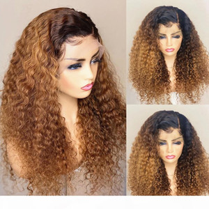 Peruvian Kinky Curly Ombre Blonde Full Lace Human Hair Wig with Baby Hair 360 Lace Frontal Wigs for Women Natural Hairline 13x4 front