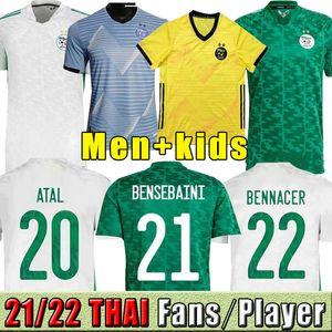 Cezayir Futbol Formaları Ulusal 2021 2022 Adam Kids Kiti Bansebaini Bennacer Mahrez Futbol Jersey ATAL Brahimi Benrahma Maillot de Calrien 21/22 Oyuncu Eğitimi