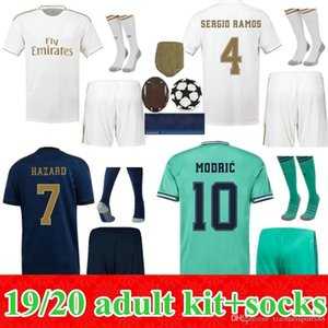 2019 2020 Real Madrid Soccers Jersey Peligro Hogar Alojamiento 3rd Hombres Camisa de fútbol Asensio Isco Bale Madrid 19 20 Kit para adultos Uniformes de fútbol
