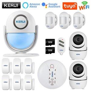 Kerui Tuya Wifi نظام إنذار الأمن المنزل الذكي يعمل مع Alexa Motion الدخان دخان الباب الاستشعار مراقبة كاميرا بطاقة SD