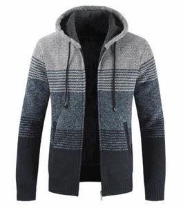 Sweater de designer Hiver Striped Impression à manches longues Manteaux à capuchon à capuche Contraste Couleur Homme Vêtements épais Cardigan Mens