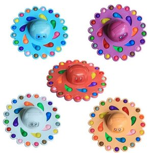 30CM Rainbow Push Bubble Fidget Toys Poppers Pioneer Children's Finger Tip Rotation Decompression Toy Super Large Size Anti Stress Board Game G953JF9