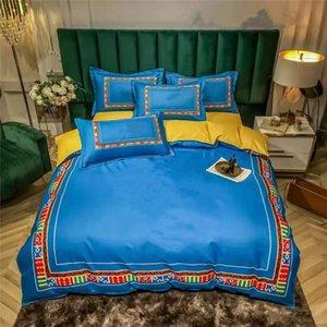 Синие животные печати полоса постельное белье костюм мода дизайнеры кровать крышка наборы зимнего весеннего хлопчатобумажной одежды