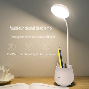 Table Lamps Flexo Night Light Pen Container USB LED Rechargeable Stepless Dimming Eye-Care for Office