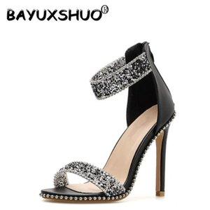 Bayuxshuo verão sandálias mulheres moda crystal rivet aberto toe salto alto senhoras festa de casamento sapatos de casamento tampa estilete
