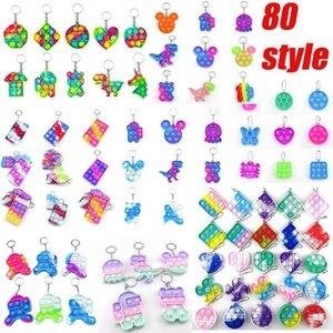 50%OFF Christmas Gift Children Adult Push Bubble keychain Fidget Sensory Toy Key Ring Educational Anti-stress Pop It Fidgets Toys decompression