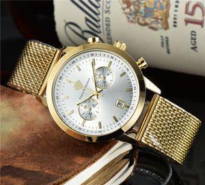 Nouveau Chronographe Sports Hommes Montre Hommes Marque Marque De Luxury Mesh Ceve de ceinture Acier Quartz Horloge Imperméable grand cadran Montre Hommes