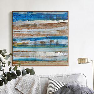 Blue ocean waterfront hand painting, art wall oil painting, canvas, living room, modern loft, industrial bedroom.