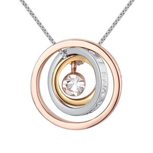 Mother's Day Gift Concentric Circles Crystal Pendant Necklace Made with Austrian Crystal Elementfor Women Free Shipping