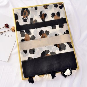 Royalmaybe Foreign trade export beach towel women wild sunscreen shawl fashion cotton leopard scarf silk scarf