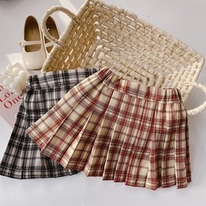 AMBB New INS Stylish Children Girls Skirts Plaid Skirt Girls Spring Autumn School Ruffles Cotton Kids Clothes Kids Girl Skirts