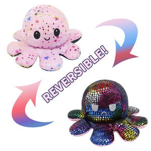 echana Explosive flipped octopus doll Double-sided flipped octopus doll plush toy