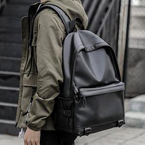 Backpack Fashion Men Leather Backpacks Black School Bags For Teenagers Boys College Book Bag Laptop Mochila Masculina