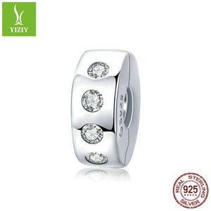 Silver Charm S925 pure silver simple bead positioning buckle charm platinum plated diamond beads can be opened