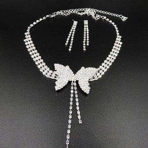 Earrings & Necklace Women Full Rhinestone Butterfly Long Pendant Stud Jewelry Set Wedding Party Rhinestones Statement Accessories