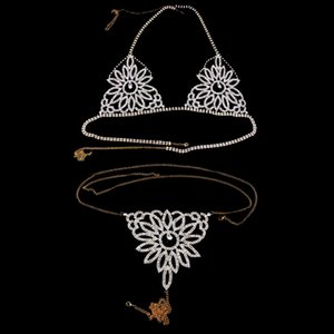 StoneFans Exquisite Flower Underwear Rhinestone Bikini Chain Crystal Sexy Body Chain Bra Thong Set Underclothes Women Jewelry