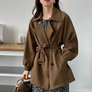 Women's Trench Coats 2021 Ins Fashion Women Solid Color Coat Outwear Autumn Winter #8207