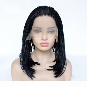 Box Braided Wigs Bob Lace Front Wig for Women Natural Black Glueless Short Bob Braided Lace Wig Middle Part Half hand Tied