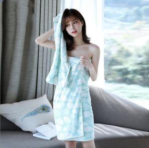 Bath Shower Towel Face Towels Set Thick Coral Fleece Towels Wearable Bath Towels Velvet Body Wrap Bath Robe Bathrobe Quick Drying BWC6054