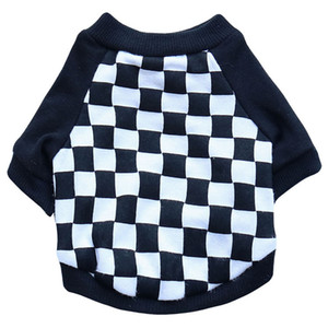 T-shirt Plaid Pet Dog Clothes Fashion Clothing Dogs Super Small Cotton Costume Cute Chihuahua Summer Black White Boy Mascotas