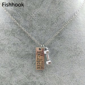 Fishhook Fitness GYM antique silver Color plated dumbbell Redefine beautiful charm pendant necklace gym jewelry men10