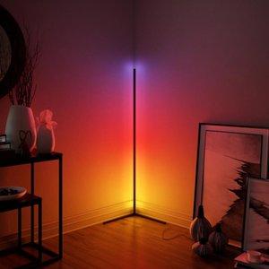 Lampe de sol rgb moderne à LED pour la chambre à coucher de chevet, salle de séjour atmosphère coloré maison décor d'intérieur lumineux debout