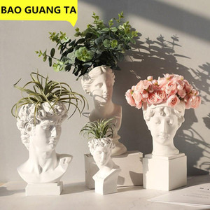 BAO GUANG TA Modern Nordic Style Creative Portrait Vase Human Head Decor David Medici Statue Home Decoration R1958