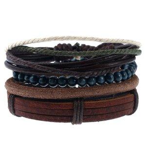 Handmade Braided Rope Multilayer Leather Wooden Beaded Charm Bracelets Set For Men Boy Adjustable Punk Bangle Retro Jewelry