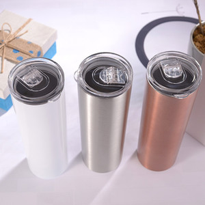 20oz Skinny Tumblers Sublimation Blanks Tumbler Stainless Steel Coffee Mugs Beer Classic Cup With Lid straws Fast Shipping