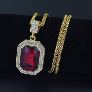 New Mens Bling Glass Faux Lab Ruby Pendant Necklace 75cm Chain Gold Plated Iced Out Sapphire Rock Rap Hip Hop Jewelry For Gift