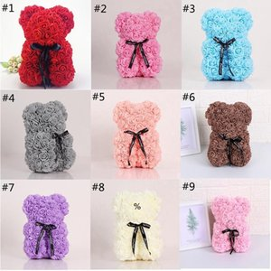 Rose Teddy Bear Valentines Day Gift 25cm Flower Bear Artificial Christmas Gift for Women Valentines Gift Sea Ship HWD10004