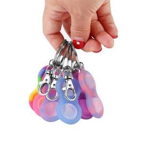 اثنان الكرة بسيطة قلادة مفتاح سلسلة دفع فقاعة الضغط لعبة المفاتيح معلقة كيرينغ حامل الحساسية لعب أطفال الأطفال H31MR1L