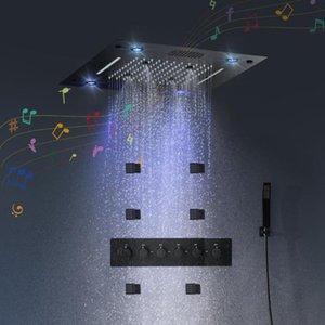 Caballamiento de alta calidad Black Steel de acero inoxidable 304 Conjunto de cabezal de ducha LED Bluetooth Música Sistema de ducha Masaje Jets