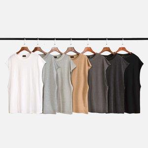 7 ألوان الصيف رجل مصمم القمصان الهيب هوب الصدرية أكمام شارع عالية بلون تي شيرت أزياء عارضة