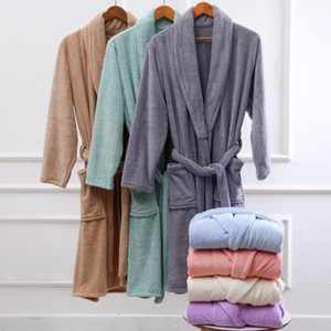 Bathrobe Towel Women Autumn Thick Velvet Coral Fleece Bath Robes Couple Luxury Belt Warm Winter Flannel Men Sleepwear Nightgown zyy650