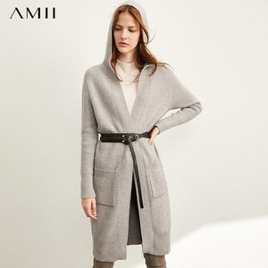 Amii Minimal Lazy Sweater Coat Women Spring Wear New Loose Hat Long Knitted Cardigan 11940475