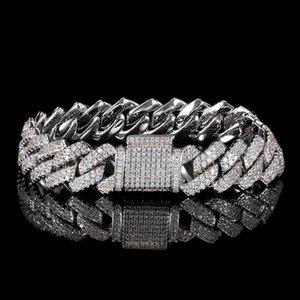 Link, Chain Hip Hop 14mm Width Sparking Bling Two Row Cubic Zirconia Cuban Link Men Boy Rock Bracelets For
